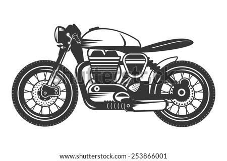 Cafe racer motorcycle with helmet. Isolated sketch of custom bike. - stock photo
