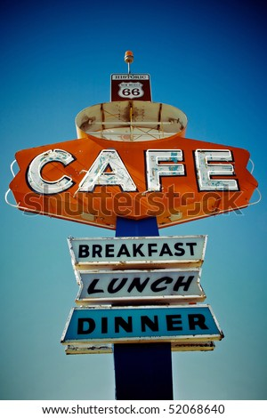 Cafe sign along historic Route 66 in Arizona. Vintage Processing. - stock photo