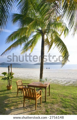 cafe table on beach