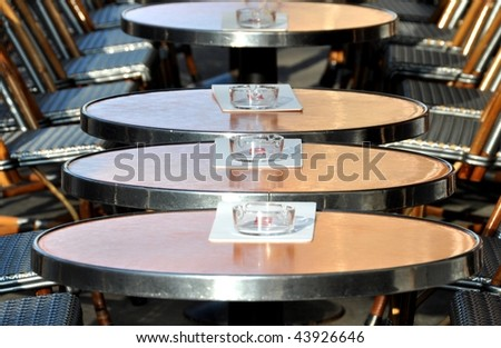Cafe terrace in Paris - stock photo