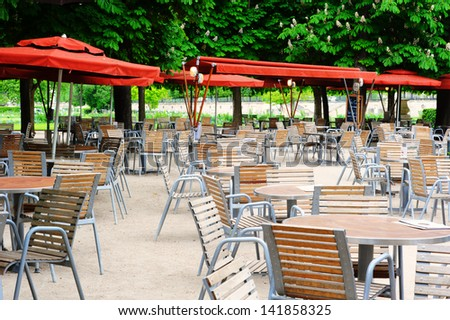 Cafe terrace in Tuileries Garden of Paris, France - stock photo