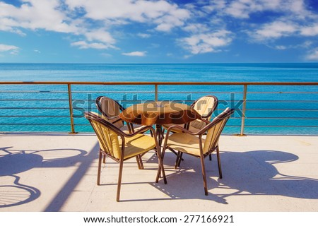 Cafe with a sea view in Sutomore, Montenegro  - stock photo