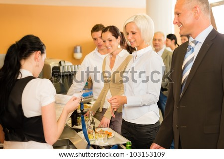 Cafeteria cashier woman check guest list businesswoman take buffet lunch
