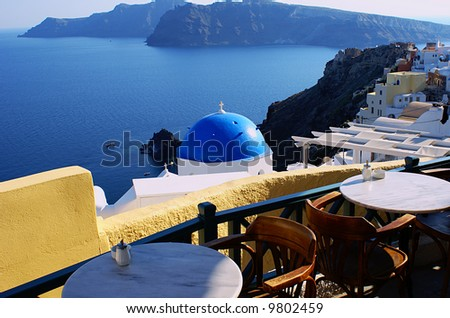 Cafeteria on Santorini island, Greece - stock photo
