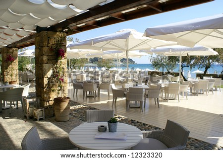Cafeteria on the beach - stock photo