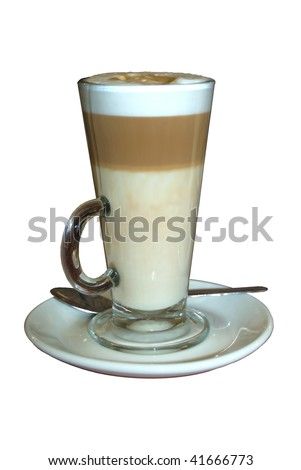 Caffe latte (coffee) in a glass, isolated on a pure white background. - stock photo