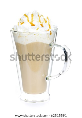 Caffe latte coffee with whipped cream isolated on white background - stock photo
