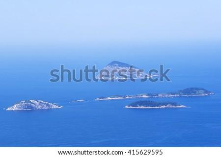 Cagarras Islands near Ipanema Beach in Rio de Janeiro, Brazil. - stock photo