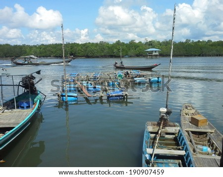 Cage aquaculture farming, Thailand - stock photo