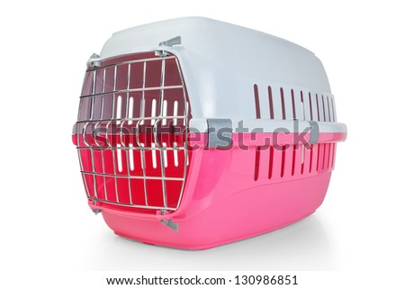 Cage for transporting pets, cats, dogs. With the door closed. - stock photo