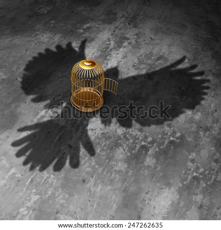 Cage freedom concept as an open birdcage with a giant bird cast shadow flying above with open wings as a symbol of liberty and justice. - stock photo