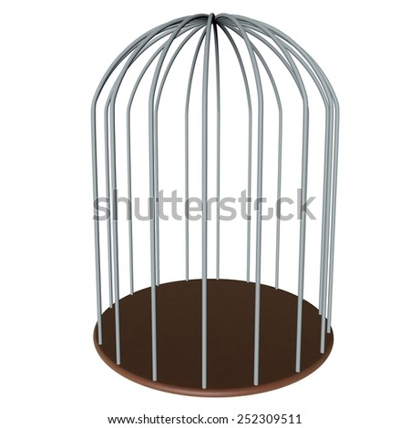 Cage isolated over white background, 3d render - stock photo