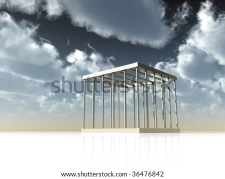 cage under cloudy sky - 3d illustration - stock photo