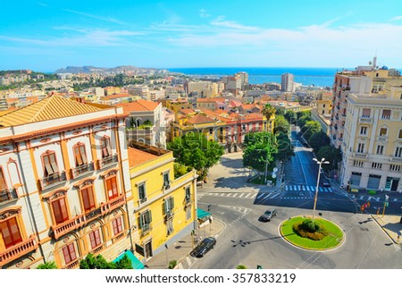 Cagliari cityscape on a clear day, Italy - stock photo
