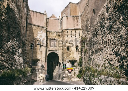 CAGLIARI, ITALY - APRIL 30, 2016: St. Pancras' Door to Cagliari citadel - stock photo