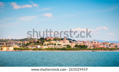 Cagliari Mediterranean coastal town, view of the Basilica of Bonaria - stock photo