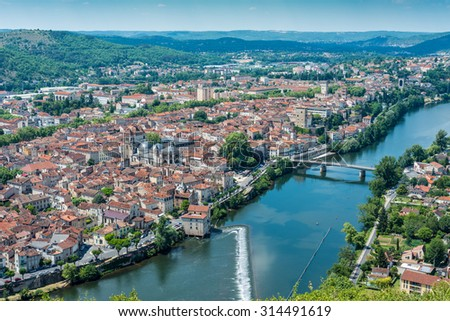 Cahors as seen from Mont Saint Cyr in Lot, Midi-Pyrenees, France. - stock photo