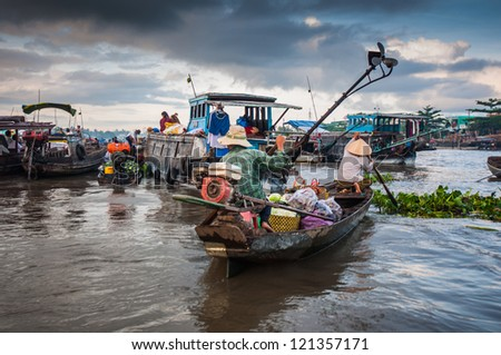 Cai Rang floating market, Can Tho, Vietnam - stock photo
