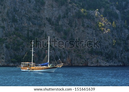 Caicco in turkey, cruise tour in a blue sea. - stock photo