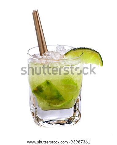 Caipirinha cocktail drink isolated on white background - stock photo