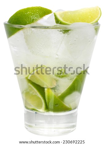 Caipirinha cocktail with ice cubes in a highball glass on a white background. - stock photo