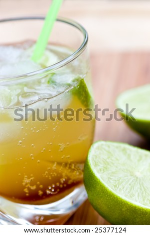 Caipirinha - National Cocktail of Brazil Made with Cachaca, Sugar and Lime. - stock photo