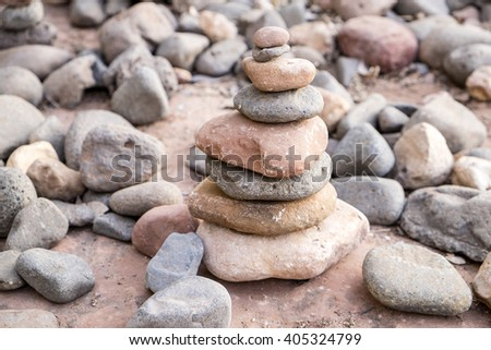 Cairn in the Park - stock photo