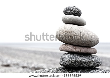 Cairn on a beach at the baltiv sea in Germany - stock photo
