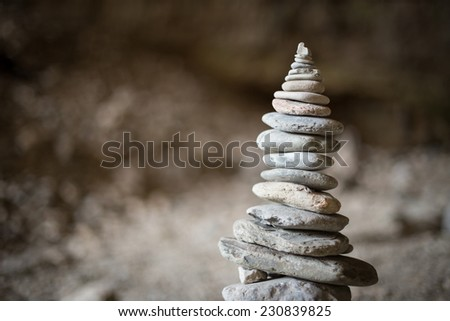 Cairn or Stack of rocks - stock photo