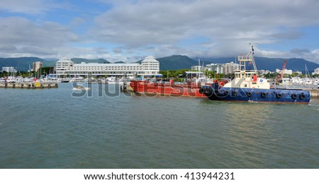 CAIRNS, AUS - APR 15 2016: Cairns Marlin Marina in Queensland Australia. Located at the entrance to Trinity Inlet it's a significant departure location of tourism tours to the Great Barrier Reef.