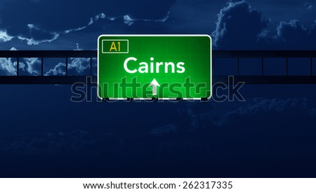 Cairns Australia Highway Road Sign at Night - stock photo
