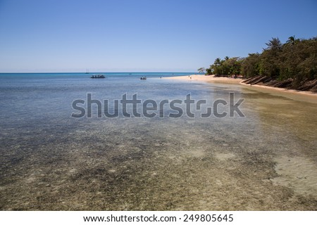 Cairns, Australia - September 18: View of Green Island, a small island in the Great Barrier Reef near Cairns, Australia on September 18, 2014. - stock photo