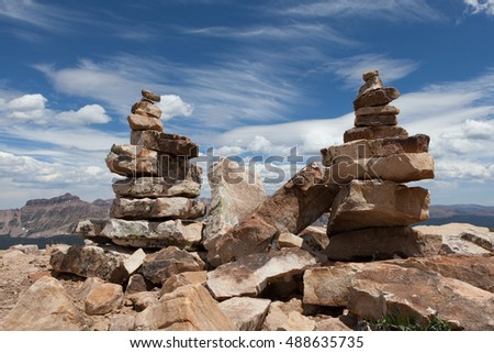 Cairns, stacked rock trail markers