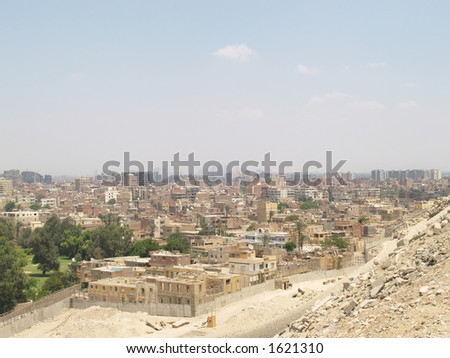 Cairo as seen from the pyramids - stock photo