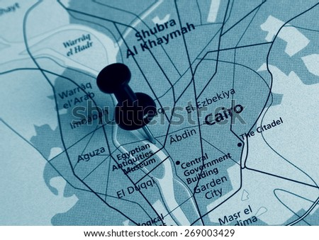 Cairo  destination in the map - stock photo