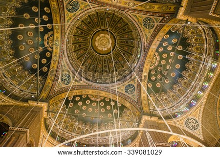 CAIRO - FEB 1: Interior of the Mosque of Muhammad Ali, also known as the Alabaster Mosque, in the Saladin Citadel on February 1, 2015 in Cairo, Egypt. - stock photo