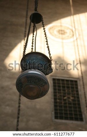 CAIRO   MAY 15: Lamp In The Medieval Mosque Madrassa Of Sultan Hassan On