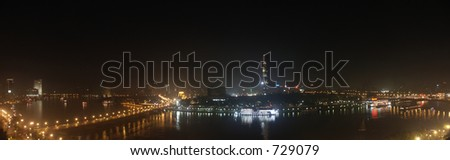 Cairo Nile at night - stock photo