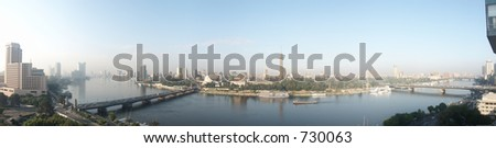 Cairo Nile Panorama 7353x1883 - stock photo