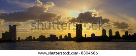 Cairo Nile Skyline Egypt - stock photo