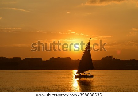 Cairo - Sunset over the Nile - stock photo