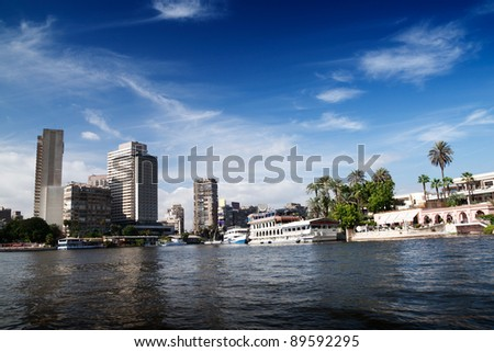 Cairo view from Nile river, Egypt. - stock photo