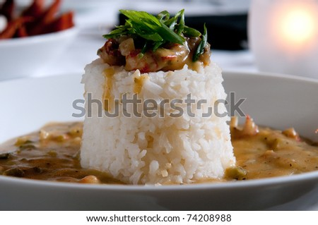Cajun etouffee with shellfish and rice - stock photo