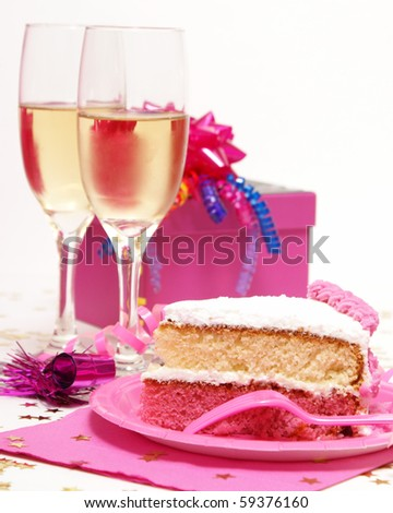 Cake and Champagne - stock photo