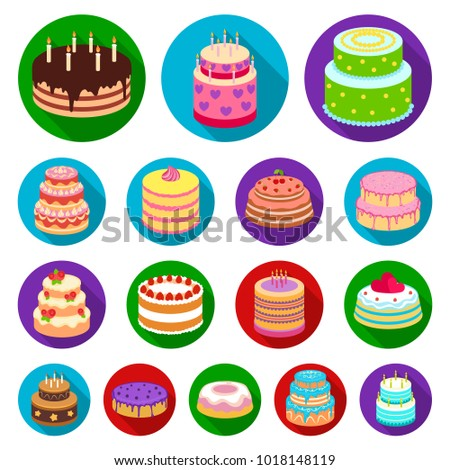 Cake and dessert flat icons in set collection for design. Holiday cake bitmap,  symbol stock web illustration.