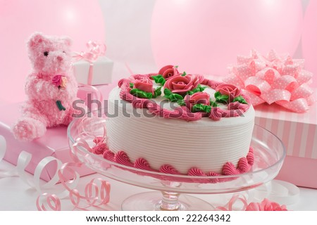 Cake and presents (Birthday, Mother's day) - stock photo