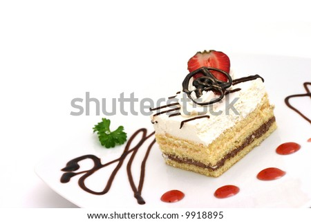 Cake and Strawberry - stock photo