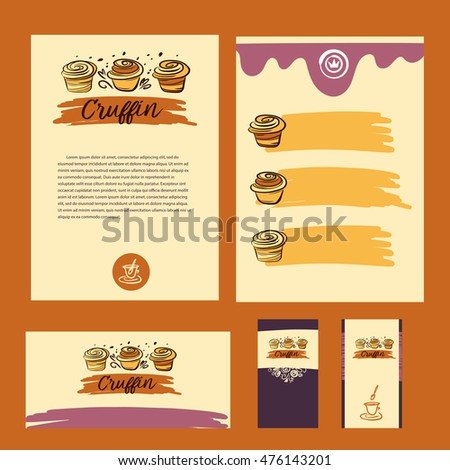 Cake and sweet shop logo. Royal cruffin dessert. Element of design for corporate identity, banner, business card, poster with freehand drawn cruffin logo.