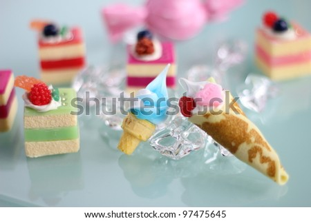 Cake and sweets toy with white background