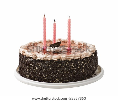 cake and three candles isolated on a white background - stock photo